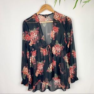 Express Floral Sheer Top, Size Small